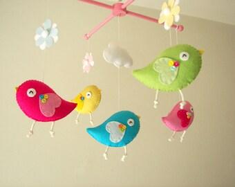 """Baby-Krippe mobile, Vogel mobile, mobile, fühlte Kindergarten mobile, baby mobile """"Vogel – Neon"""""""
