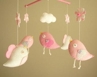 "Baby-Krippe Mobile, Mobile Vogel, Filz mobile, Kindergarten Mobile, Baby Mobile, ""Bird - Baby Pink"""