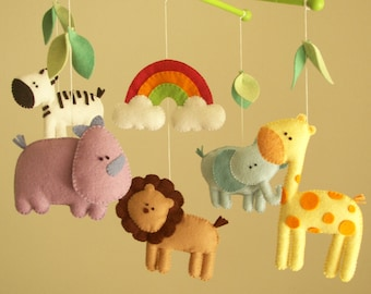 "Baby crib mobile, safari mobile, animal mobile, felt mobile ""Let's go to the Zoo"" - Elephant, Lion, Giraffe, Zebra, Rhino"
