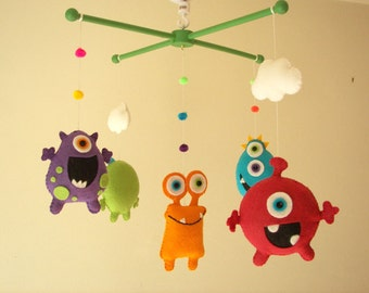"Baby crib mobile, Monster mobile, Alien mobile, felt mobile, nursery mobile ""Monster Friends"""