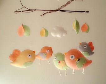 "Baby crib mobile, Bird mobile, felt mobile, nursery mobile, baby mobile,""Bird - Branch"""