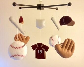 "Baby-Krippe-Mobil, mobile fühlte, Mobil, Baby Baseball mobile, Sport mobile, Kindergarten mobile - ""Nimm mich heraus zu diesem Ballspiel"""