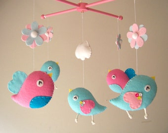 """Kinderbett mobile, Vogel mobile, mobile, fühlte Kindergarten mobile, baby mobile """"Bird – Pink und Aqua"""""""