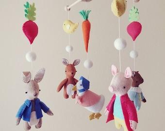 Farm mobile, Barnyard nursery, Rabbit mobile, baby mobile, crib mobile, farm nursery decor - Rabbit, Piglet, Duck, Kitty Cat, Squirrel