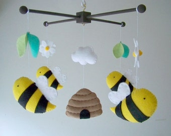 "Baby crib mobile, Bee mobile, flower mobile , felt mobile ""Daisy and Bumble bee"""