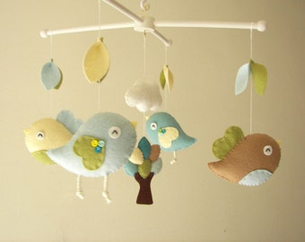 "Baby crib mobile, Bird mobile, felt mobile, nursery mobile, baby mobile,""Bird - Beige and Aqua"""
