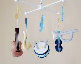 "Musical instrument mobile, Baby mobile, Crib mobile, Guitar mobile, Violin mobile, Drum mobile, Music theme room decor, ""Dream sound 2"""
