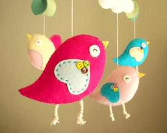 "Baby-Krippe mobile, Vogel mobile, mobile, fühlte Kindergarten mobile, baby mobile ""Bird - Rosa"""