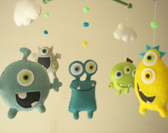 "Baby crib mobile, Monster mobile, Alien mobile, felt mobile, nursery mobile ""Monster Friends 3"""
