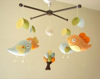 """Baby-Krippe Mobile, Vogel-Mobile, Filz mobile, Kinderzimmer Mobile, Babymobile, """"Bird - Migi wenig Baum 2"""""""