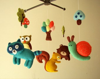 "Baby crib mobile, forest mobile, animal mobile , felt mobile ""Forest friends 2"" - Squirrel, Owl, Bear, Raccoon, and Snail."