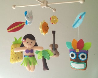 "Baby crib mobile, Hawaiian mobile, beach mobile, felt mobile, Surf mobile ""Aloha"""