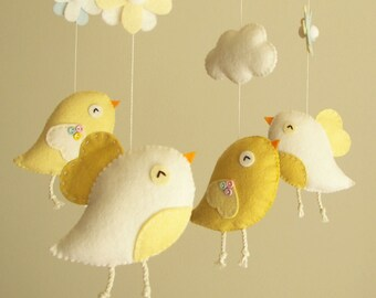 "Baby Wiege Mobile, mobile, Vogel fühlte, Mobile, Kindergarten Mobile, Baby Mobile, Mädchen-Handy ""Bird - gelb"""