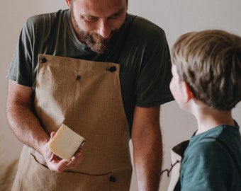 Apron - Mod. MEN'S HARNESS - made of soft and durable melange cotton.