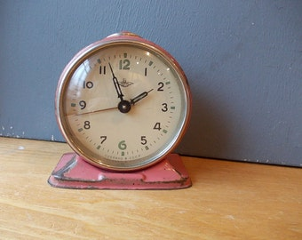 Vintage Bell Alarm Clock JANTARJ / Working / Blue and Red Vintage Alarm Made in USSR / Retro alarm clock