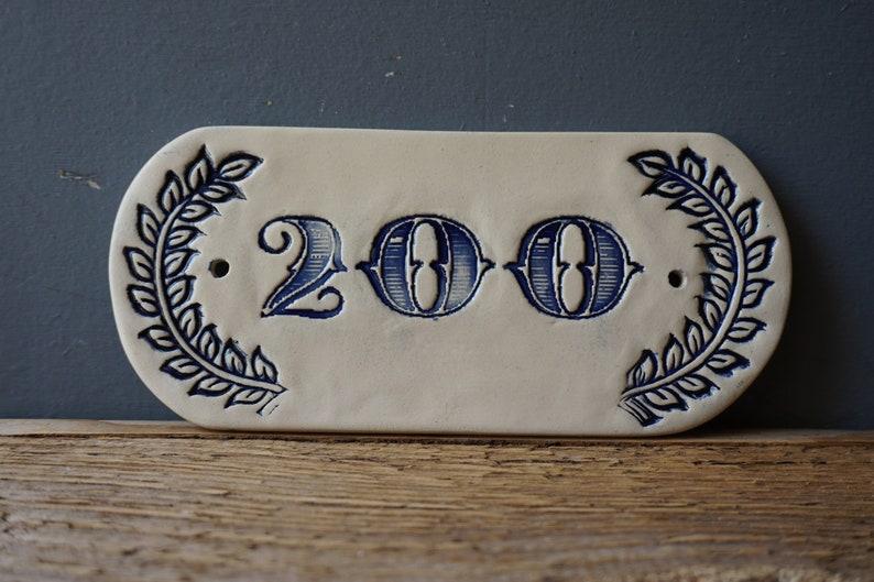 Ceramic Door Number 200 Blue Vintage Number Address Number Home Decor Handmade