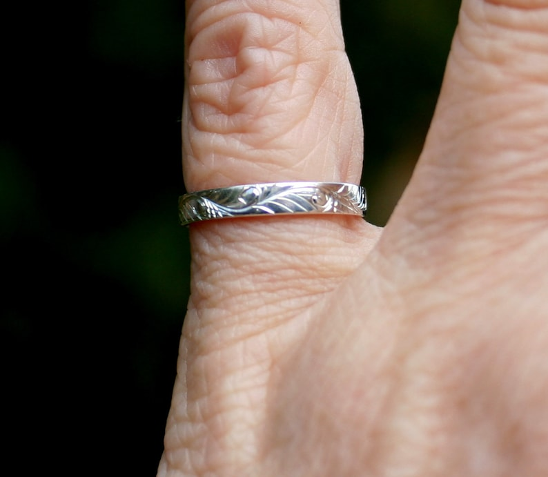 Size 5 Unisex Hand Engraved Sterling Silver Stackable Ring