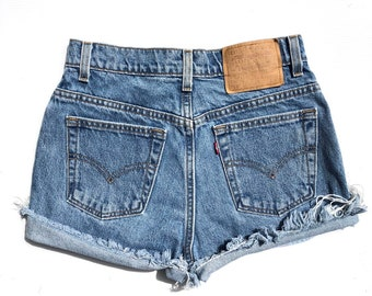 203a69b9 Vintage 512 Medium Wash High Waisted Levis Cut Off Shorts // size XS S Size  25