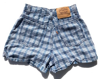 9fe773d4 Vintage Plaid 954 High Waisted Levi's With The Original Factory Cuff //  Size 26