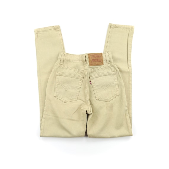 Vintage Levis 512's 90's Tan High Waisted Jeans W… - image 2