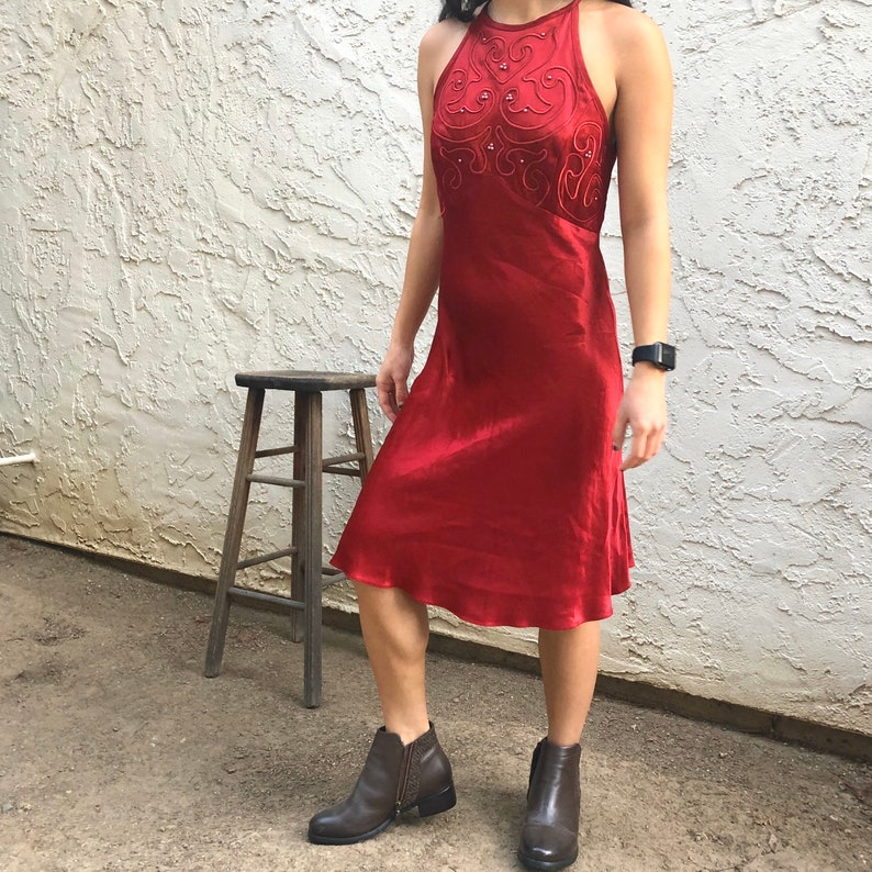 Vintage Bari-Gay Red Strappy Back Red Dress  Size M 6810