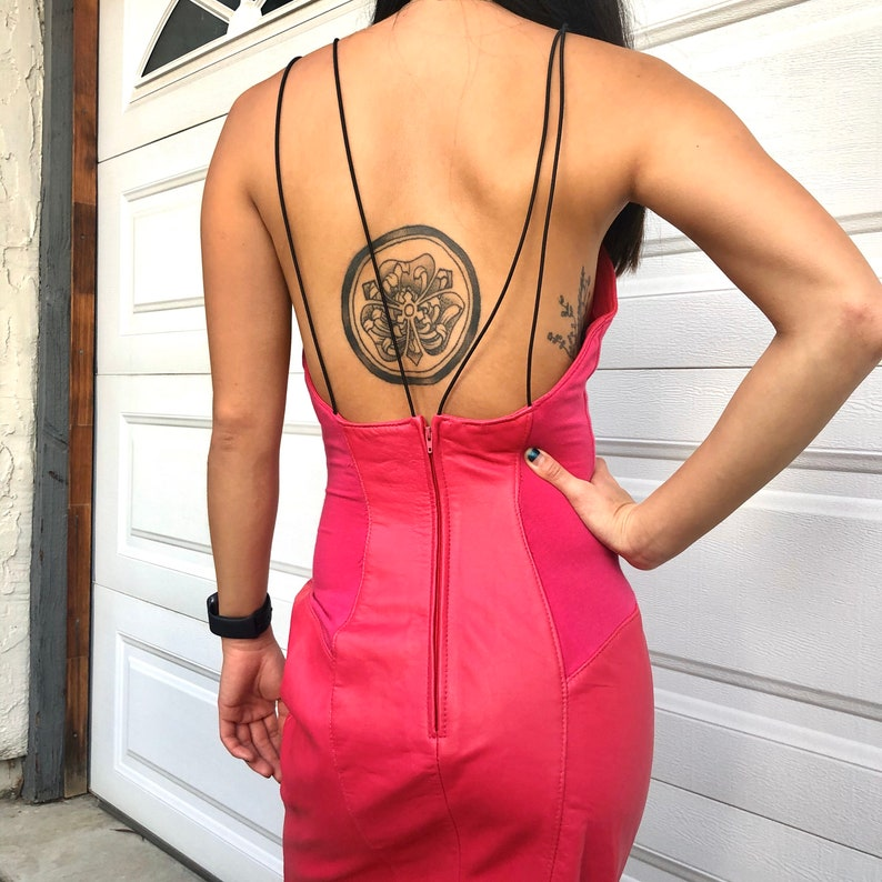 Vintage Unique Hot Pink Strappy Genuine Leather Dress  Size XS