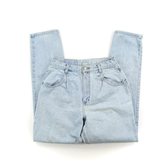 Vintage Light Wash Pleated High Waisted Jeans // S