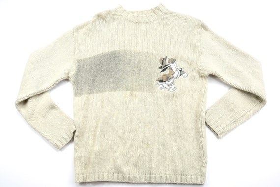 Vintage Droopy Detective White Winter Sweater // S