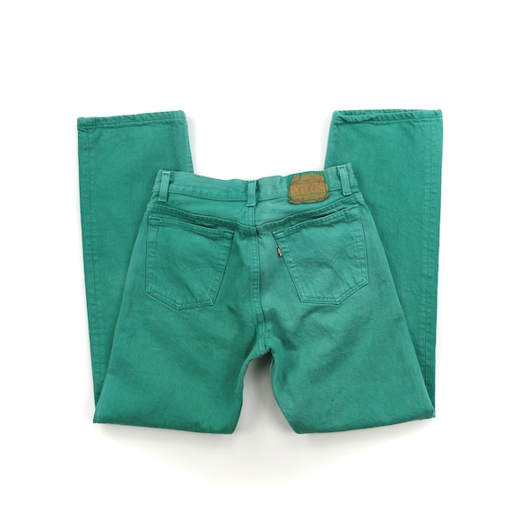 Vintage Levis 701 Mint Green Button Fly Jeans // … - image 2