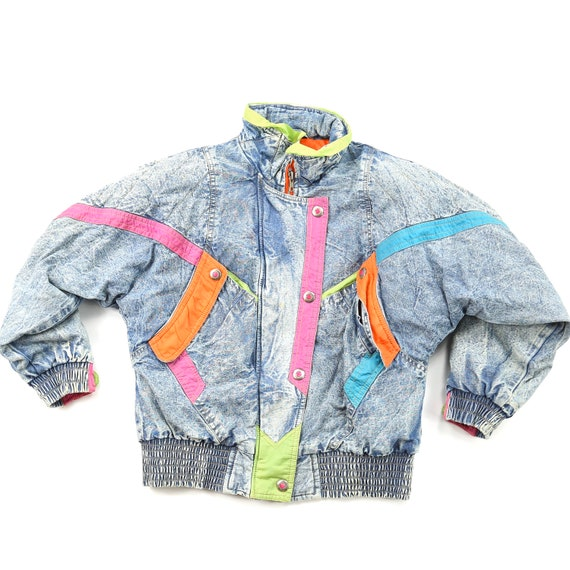 Vintage Colorful Puffy Andy Johns Denim Jacket XS/