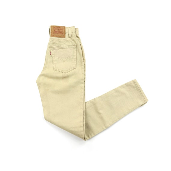 Vintage Levis 512's 90's Tan High Waisted Jeans W… - image 1