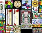 choose from 4 FULL SHEETS sticky backed dollhouse stained glass effect windows - just cut out peel use can be customised for you too )