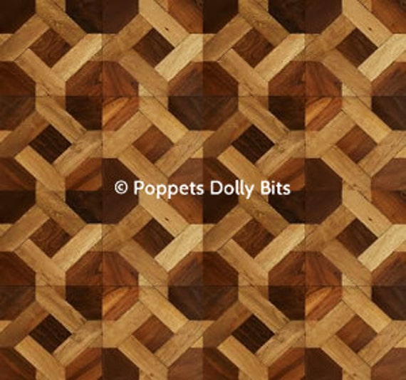 dolls house DARK parquet flooring x 2