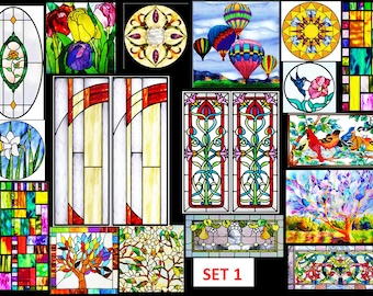 FULL SHEETS sticky backed dollhouse stained glass effect windows - just cut out peel & use! can be customised for you too :)