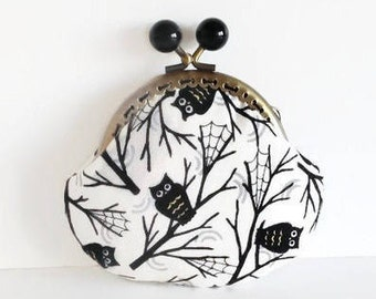 Black Owl Coin Purse, Metal Frame Change Pouch, Kiss Lock Coin Purse, Gift for her