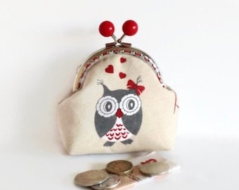 Owl Gifts, Cute Coin Purse,  Change Purse, Coin Pouch, Metal Frame Purse, Stocking Filler