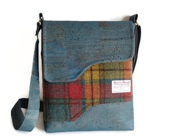 Cork Harris Tweed Messenger Bag, Mother's Day Gift, Shoulder Bag, Eco Friendly, Ready to Ship