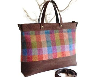 Cork and Irish Wool Bag, Multicoloured Tweed Purse Cross Body Bag Strap, Mother's Day Gift, Ready to Ship