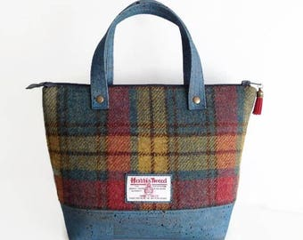 Harris Tweed Bag with Blue Cork Accent, Mother's Day Gift, Multicoloured Tartan Bag Scottish Wool Purse