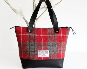 Harris Tweed Bag with Black Cork Accent, Red Tartan Scottish Wool Purse, Mother's Day Gift