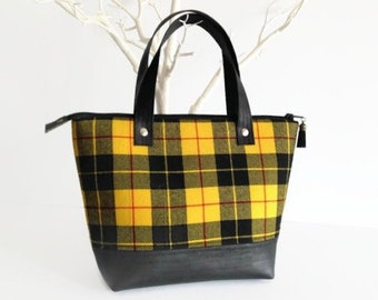 Wool Bag, Unique Upcycled Yellow Tartan Purse with Black Cork Accent, Gift ideas for Her