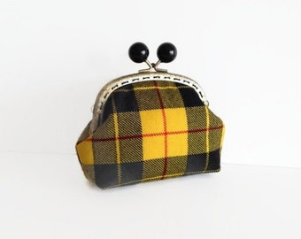 Upcycled Wool Pouch Unique Yellow Tartan Frame Purse Gift for Mom
