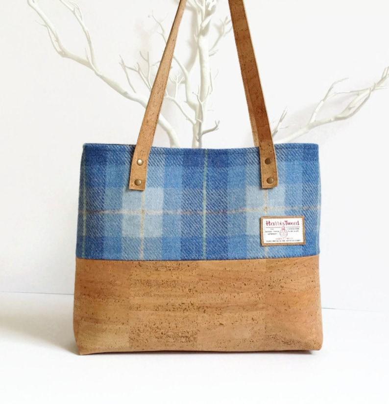 d2dfbe64c3a43 Eco Friendly torba Cork-torba Tweed Harris-szkocki niebieski | Etsy