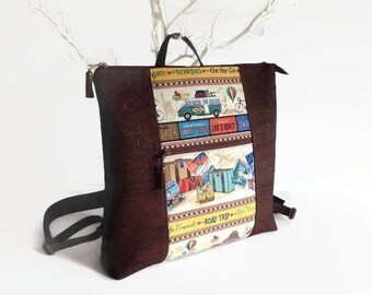 Travel Backpack, Brown Cork Backpack, Unique Vegan Eco Friendly Gift