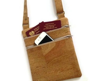 Cork Messenger Bag - Small Cross Body Travel Purse - Eco Friendly Bag - Vegan Gift Idea