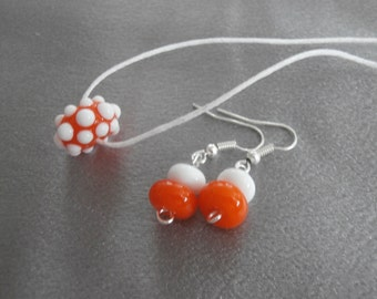 Gorgeous Bright Orange And White Lampwork Glass Bead Necklace And Earring Set- Womens Jewelry, Teen Jewelry, Handmade Jewelry, Jewelry Set