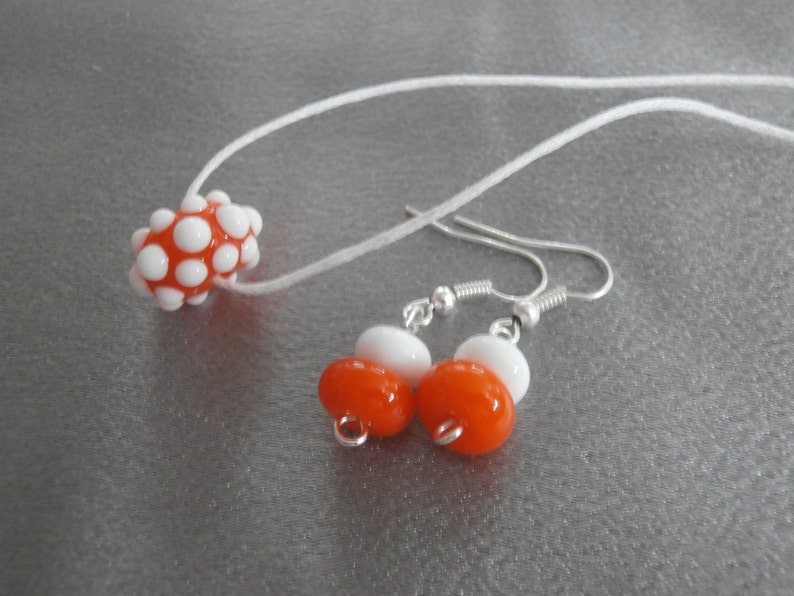 Teen Jewelry Handmade Jewelry Jewelry Set Gorgeous Bright Orange And White Lampwork Glass Bead Necklace And Earring Set- Womens Jewelry