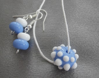 Gorgeous Lavender Blue And White Lampwork Glass Bead Necklace And Earring Set- Womens Jewelry, Teen Jewelry, Handmade Jewelry, Jewelry Set