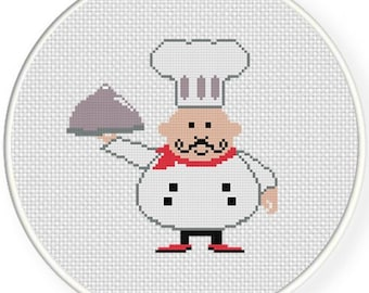 Chef Illustration, Handmade Unframed Cross Stitch-Home Decor, Wall Prints, Gifts For Chefs, Fat Chef Decor, Chef Art, Kitchen Wall Art