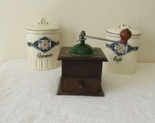 Fabulous French Coffee Grinder, Vintage French Coffee Mill, Peugeot Freres in Wood with Green Enamel Top in Excellent Condition